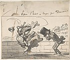 Un Coup de Vent non Prédit par Mathieu (de la Drôme), Plate 1 of Croquis d'Hiver, Honoré Daumier (French, Marseilles 1808–1879 Valmondois), Lithograph with notations in pen