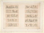 Plate with Ten Bacchanal Scenes, Etched by Jean Philippe Guy Le Gentil, comte de Paroy (French, 1750–1824), Etching