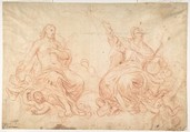 The Holy Trinity (recto); Studies of Seated Female Figures (the Virgin and another Saint?) (verso), Luca Giordano (Italian, Naples 1634–1705 Naples), Red chalk (recto); faint red chalk (verso)