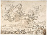 The Virgin Intervening during a Siege of Madrid, Luca Giordano (Italian, Naples 1634–1705 Naples), Brush and brown wash over lead or black chalk