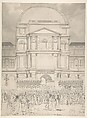 Crowd in Front of the Tuileries Palace During the Wedding of Napoleon to Marie-Louise of Austria, Charles Percier (French, Paris 1764–1838 Paris), Pen and gray ink, brush and gray wash, over black chalk