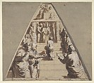 Presentation of the Virgin in the Temple (below), Abraham about to Sacrifice Isaac (above), Perino del Vaga (Pietro Buonaccorsi) (Italian, Florence 1501–1547 Rome), Pen and brown ink, brush and brown wash, highlighted with white gouache, squared in black chalk, on brownish paper. The empty triangular corners are tinted in gray-green wash, the right diagonal border tinted in gray wash