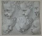 Studies of the Head of an Infant (after a three-dimensional model), Poppi (Francesco Morandini) (Italian, Poppi 1544–1597 Florence), Black chalk on blue paper