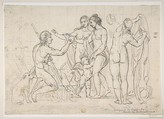 Judgment of Paris, after Raphael, After Raphael (Raffaello Sanzio or Santi) (Italian, Urbino 1483–1520 Rome), Black chalk scrawled over with pen and ink indication of head of Venus by a more skillful hand