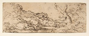 Landscape with hills and a lake, trees in right foreground., Salvator Rosa (Italian, Arenella (Naples) 1615–1673 Rome), Pen and brown ink, on beige paper