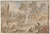 Gardens of the Villa d'Este at Tivoli, Charles Joseph Natoire (French, Nîmes 1700–1777 Castel Gandolfo), Pen and brown ink, brush and brown and gray wash, watercolor, heightened with white, over black and red chalk
