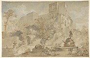 The Fountain of Rome at the Villa d'Este, Tivoli, Charles Joseph Natoire (French, Nîmes 1700–1777 Castel Gandolfo), Pen and brown ink, brush and brown and gray wash, watercolor, heightened with white, over black and red chalk, on faded blue paper