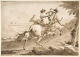 Back View of a Centaur Abducting a Satyress, Giovanni Domenico Tiepolo (Italian, Venice 1727–1804 Venice), Pen and brown ink, brush and brown wash, over black chalk. Framing lines in pen and brown ink