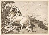 Centaur Embracing a Satyress, Giovanni Domenico Tiepolo (Italian, Venice 1727–1804 Venice), Pen and dark brown ink, brush and gray-brown wash, over traces of black chalk