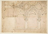 Design for the Ceiling Decoration in Vasari's House in Arezzo, Giorgio Vasari (Italian, Arezzo 1511–1574 Florence), Pen and brown ink, brush and rose-brown wash, over black chalk, and compass and ruled construction