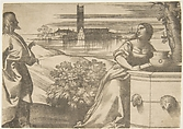 Christ standing at left addressing the Woman of Samaria at right who is standing by a well, lagoon in the background, Giulio Campagnola (Italian, Padua ca. 1482–ca. 1515/18 Venice), Engraving