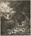 The Angel Appearing to the Shepherds, Rembrandt (Rembrandt van Rijn) (Dutch, Leiden 1606–1669 Amsterdam), Etching and drypoint; third state of three