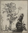 Sheet with Two Studies:  A Tree and the Upper Part of a Head of Rembrandt Wearing a Velvet Cap, Rembrandt (Rembrandt van Rijn) (Dutch, Leiden 1606–1669 Amsterdam), Etching; only state