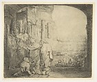 Peter and John Healing the Cripple at the Gate of the Temple, Rembrandt (Rembrandt van Rijn) (Dutch, Leiden 1606–1669 Amsterdam), Etching, drypoint, burin, and mezzotint; fifth of six states