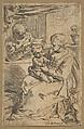 Holy Family with a rosary, Simone Cantarini (Italian, Pesaro 1612–1648 Verona), Etching