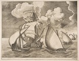 Fleet of Galleys Escorted by a Caravel from The Sailing Vessels, After Pieter Bruegel the Elder (Netherlandish, Breda (?) ca. 1525–1569 Brussels), Engraving and etching