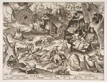 Sloth (Desidia), from the series The Seven Deadly Sins, Pieter van der Heyden (Netherlandish, ca. 1525–1569), Engraving