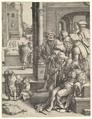 The Poet Virgil in a Basket, Lucas van Leyden (Netherlandish, Leiden ca. 1494–1533 Leiden), Engraving; first state