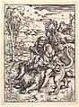 Samson Rending the Lion, Albrecht Dürer (German, Nuremberg 1471–1528 Nuremberg), Woodcut