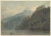 On the Gulf of Salerno near Vietri, John Robert Cozens (British, London 1752–1797 London), Watercolor over faint traces of graphite, on cream wove paper