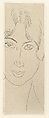 Mlle Landsberg with a Long Face, Henri Matisse (French, Le Cateau-Cambrésis 1869–1954 Nice), Etching on chine collé