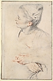Study of a Woman's Head and Hands, Antoine Watteau (French, Valenciennes 1684–1721 Nogent-sur-Marne), Red and white chalk and graphite on off-white laid paper