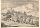 Mountaineous Landscape with a Church and Other Buildings, Anonymous, Dutch, 17th century ?, Black chalk, brush and gray and black wash