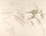 Waking Up, from the series Elles, Henri de Toulouse-Lautrec (French, Albi 1864–1901 Saint-André-du-Bois), Crayon lithograph with scraper printed in olive-gray on wove paper