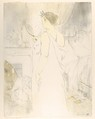 Looking in a Mirror, from the series Elles, Henri de Toulouse-Lautrec (French, Albi 1864–1901 Saint-André-du-Bois), Crayon, brush and spatter lithograph printed in three colors on  wove paper