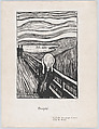 The Scream, Edvard Munch (Norwegian, Løten 1863–1944 Ekely), Lithograph