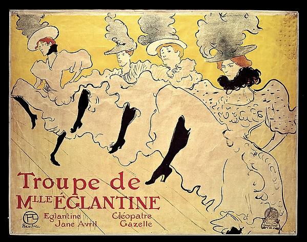 La Troupe de Mademoiselle Eglantine, Henri de Toulouse-Lautrec (French, Albi 1864–1901 Saint-André-du-Bois), Lithograph printed in three colors on machine wove paper
