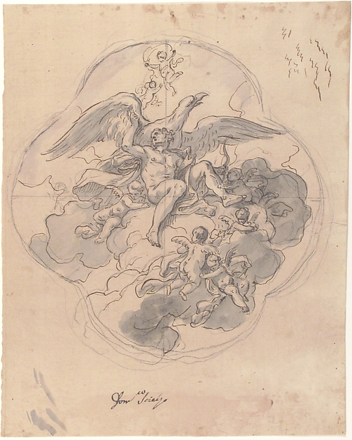 Jupiter with his Eagle (recto), Francesco Solimena (Italian, Canale di Serino 1657–1747 Barra), Pen, brown ink, gray wash over black chalk