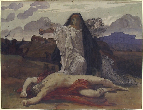 Antigone Gives Token Burial to the Body of Her Brother Polynices by Jules-Eugène Lenepveu, c. 1835-98. (Metropolitan Museum, NY)