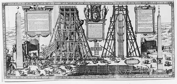 Speculum Romanae Magnificentiae: Moving the Vatican Obelisk, Natale Bonifacio (Italian, 1537–1592), Etching, printed from three plates