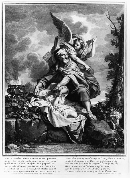 The Sacrifice of Isaac, Louis Desplaces (French, Paris 1682–1739 Paris), Etching and engraving