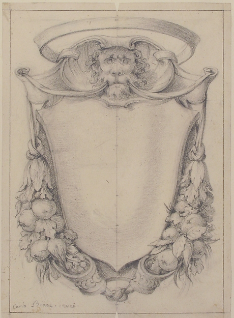 Design for a Cartouche Surmounted by a Lion's Head in Scrollwork Suspending Swags of Fruit and Leaves, Carlo Bianconi (Italian, Bologna 1732–1802 Milan), Black chalk and leadpoint