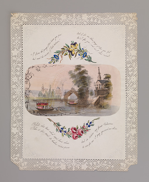 Double cobweb valentine with Venetian scene, Anonymous (British, 19th century), Lithograph, watercolor on openwork cameo-embossed paper