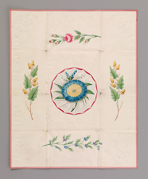 Cobweb Valentine with Morning Glory, Anonymous, British, 19th century, Watercolor, pen and brown ink on cameo-embossed paper
