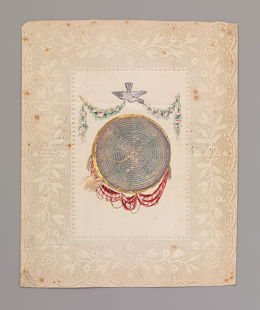 Metallic Double Cobweb Valentine, Anonymous, British, 19th century, Lithograph, watercolor, metallic paper on embossed paper