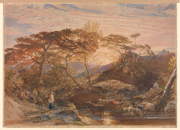 Sabrina, Samuel Palmer (British, London 1805–1881 Redhill, Surrey), Watercolor and body color over graphite, with reductive techniques, shell gold and gum arabic