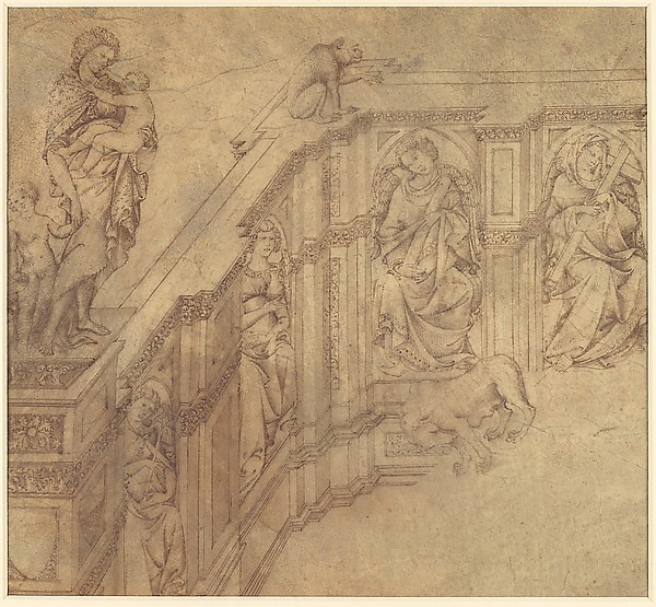 Design Fragment for the Left Side of the 'Fonte Gaia' in Siena, Jacopo della Quercia (Jacopo di Pietro d'Angelo di Guarnieri) (Italian, Siena 1374?–1438 Siena), Pen and brown ink, brush and brown wash, over traces of leadpoint and ruling, on vellum, glued onto secondary paper support