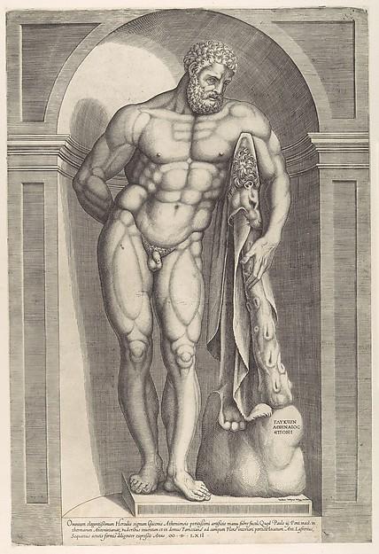 Speculum Romanae Magnificentiae: The Farnese Hercules, Jacob(us) Bos (Netherlandish, Hertogenbosch ca. 1520, active Rome ca. 1549–80), Engraving