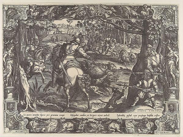 After Jan van der Straet, called Stradanus | Wild Boar Hunt with ...