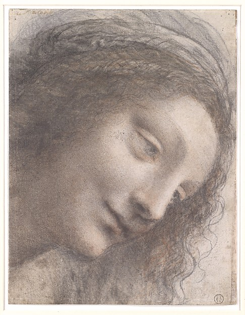 The Head of the Virgin in Three-Quarter View Facing Right, Leonardo da Vinci (Italian, Vinci 1452–1519 Amboise), Black chalk, charcoal, and red chalk, with some traces of white chalk (?); some remains of framing outline in pen and brown ink at upper right (not by Leonardo)