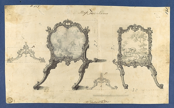 Fire Screens, in Chippendale Drawings, Vol. I, Thomas Chippendale (British, baptised Otley, West Yorkshire 1718–1779 London), Black ink, gray ink, gray and lavender washes