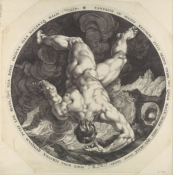 Tantalus, from The Four Disgracers, Hendrick Goltzius (Netherlandish, Mühlbracht 1558–1617 Haarlem), Engraving