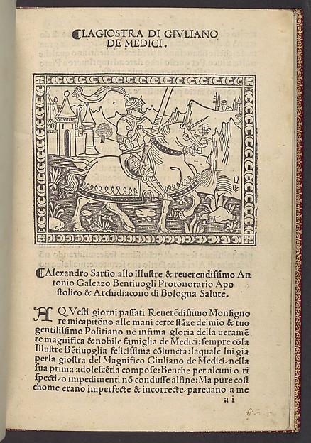 La Giostra di Giuliano de Medici..., Angelo Poliziano (Italian, Montepulciano 1454–1494 Florence), Printed book with woodcut illustrations