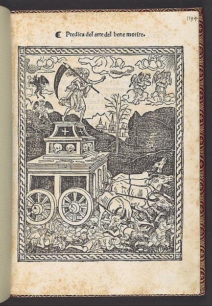 Predica del arte del bene morire (sermon on the art of dying well), Girolamo Savonarola (Italian, 1452–1498), Printed book with 4 woodcut illustrations