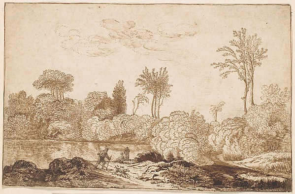 River Landscape with Traveler, Cornelis Vroom (Dutch, Haarlem 1591–1661 Haarlem), Pen and brown ink, touches of brush and brown wash. Framing line in pen and brown ink.