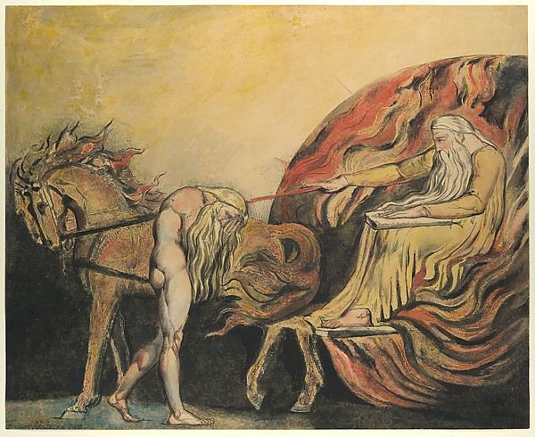 God Judging Adam, William Blake (British, London 1757–1827 London), Relief etching, printed in color and finished with pen and ink and watercolor